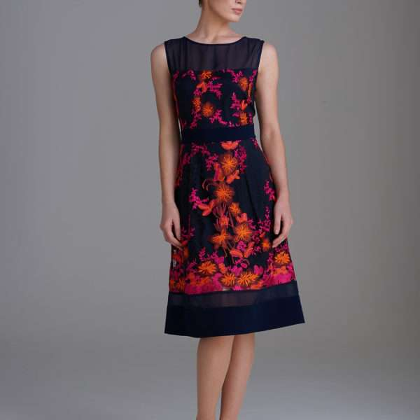 Fee G 7343 107 Embroidered Lace Dress Navy And Orange