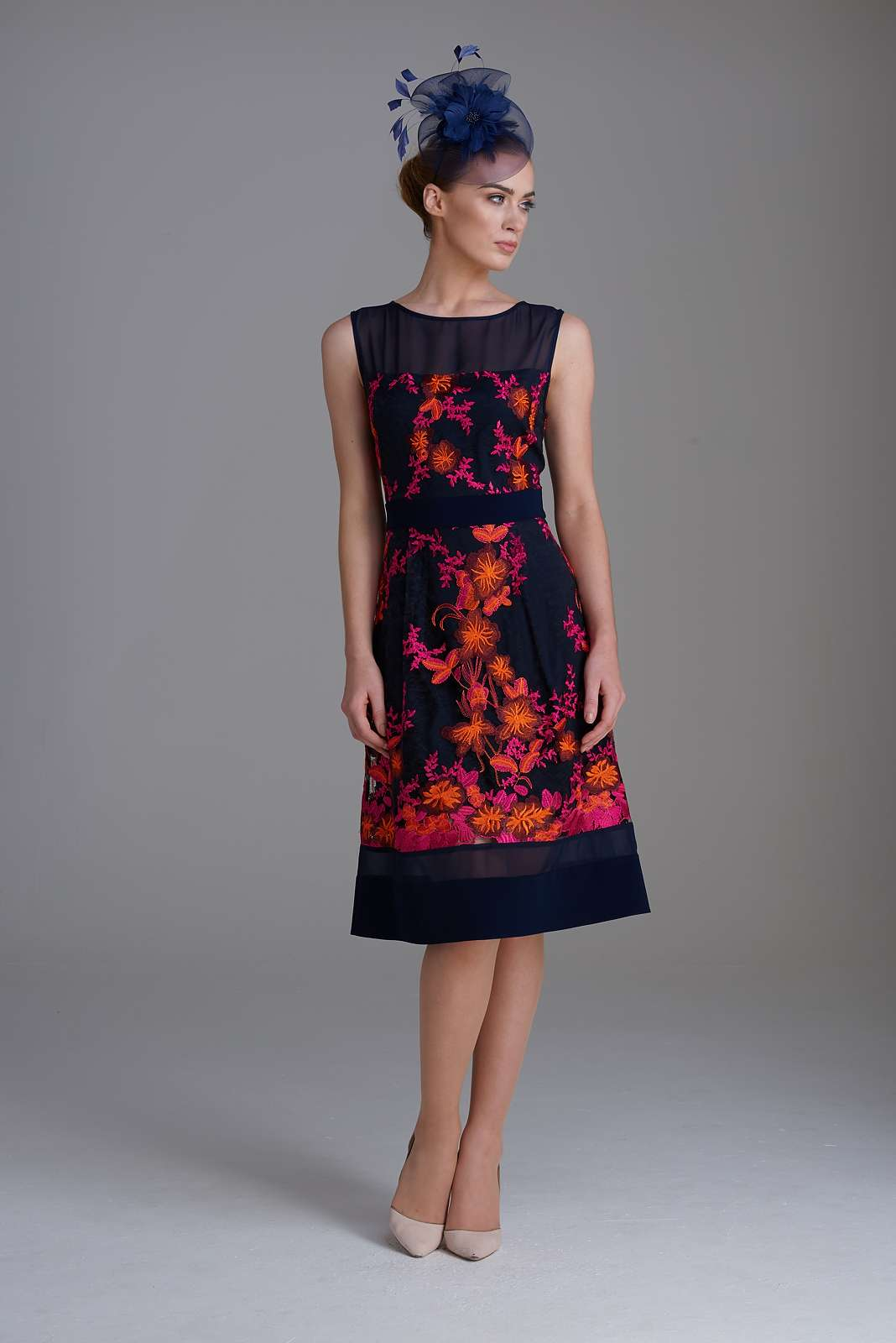 d7cb92908 Fee G 7343/107 Embroidered Lace Dress Navy And Orange
