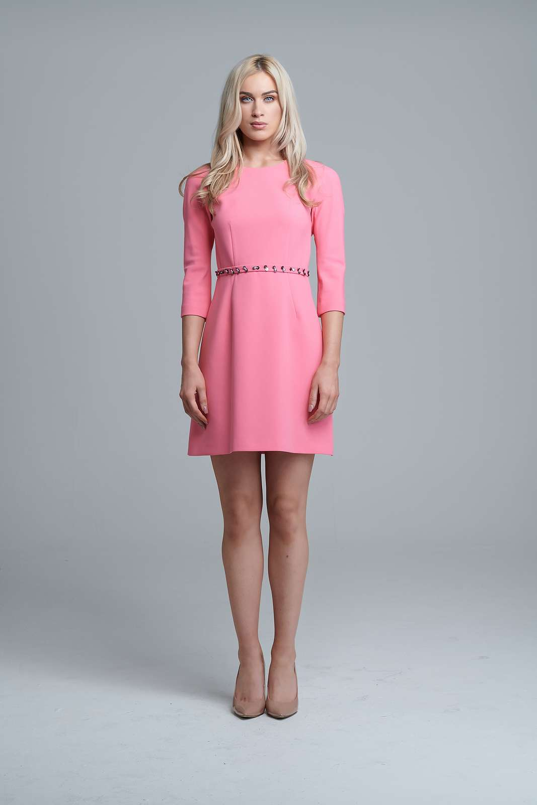Exquise Pink Mini Skater Dress  fab4defcd
