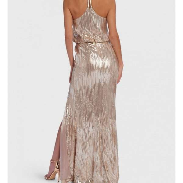 38acc65631 Forever Unique Corellia Champagne Sequin Embellished Racer Back Maxi Dress  With Thigh Split