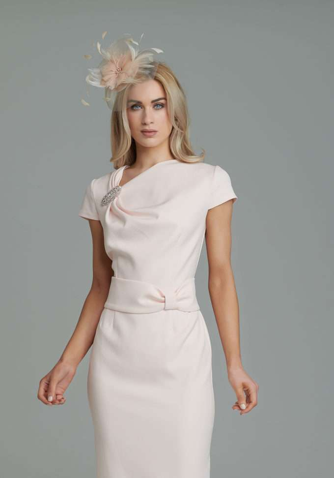 7142b5baac38 Anoola Blush Pink Dress with Brooch Accent | Blush Boutique