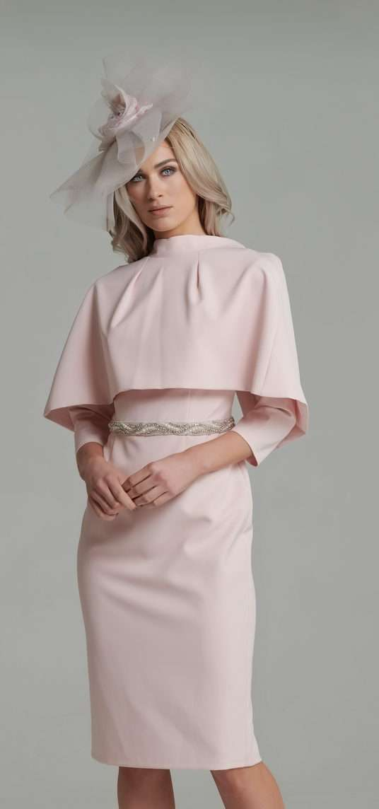 0b79f592e9c3 Anoola Blush Pink Reverse Cape And Dress | Blush Boutique