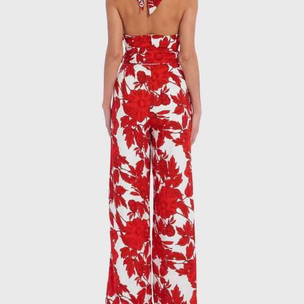 e6398ff6b44 Forever Unique White And Red Floral Halter-Neck Jumpsuit