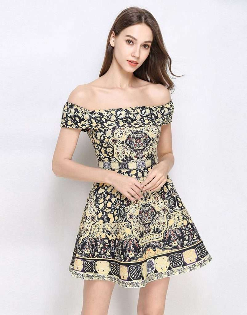 Comino Couture Floral Daze Bardot Skater Dress